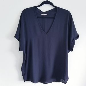 Lush black short sleeve V-Neck chiffon blouse